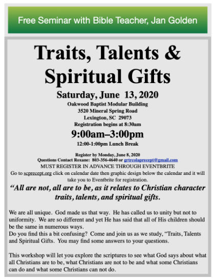 Traits, Talents and Spiritual Gifts
